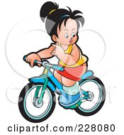 Royalty Free RF Clipart Illustration Of A Girl Riding Her Bike by Lal Perera