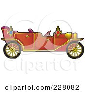 Royalty Free RF Clipart Illustration Of A Red Vintage Car by Lal Perera