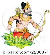 Royalty Free RF Clipart Illustration Of A Sinhala King With A Bow And Arrows by Lal Perera