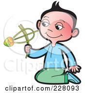 Royalty Free RF Clipart Illustration Of A Sinhala Boy Playing With A Toy by Lal Perera