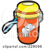 Royalty Free RF Clipart Illustration Of A Water Bottle With An Elephant Graphic by Lal Perera