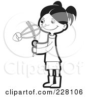 Royalty Free RF Clipart Illustration Of A Coloring Page Outline Of A Sinhala Girl Playing With A Toy