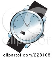 Royalty Free RF Clipart Illustration Of A Black And Chrome Wrist Watch by Lal Perera