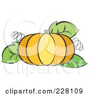Royalty Free RF Clipart Illustration Of A Pumpkin With Tendrils And Leaves by Lal Perera