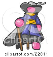 Clipart Illustration Of A Pink Male Pirate With A Cane And A Peg Leg by Leo Blanchette