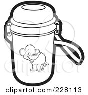 Royalty Free RF Clipart Illustration Of A Coloring Page Outline Of A Water Bottle With An Elephant Graphic by Lal Perera