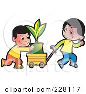 Royalty Free RF Clipart Illustration Of Two Boys Pushing A Plant In A Cart