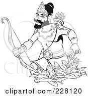 Royalty Free RF Clipart Illustration Of A Coloring Page Outline Of A Sinhala King With A Bow And Arrows by Lal Perera