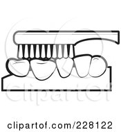 Royalty Free RF Clipart Illustration Of A Coloring Page Outline Of A Tooth Brush Brushing Teeth by Lal Perera