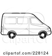 Royalty Free RF Clipart Illustration Of A Coloring Page Outline Of A Van by Lal Perera