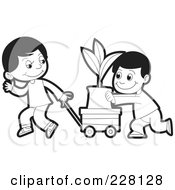 Royalty Free RF Clipart Illustration Of A Coloring Page Outline Of Two Boys Pushing A Plant In A Cart