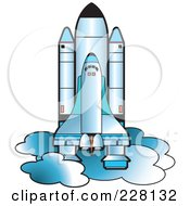 Royalty Free RF Clipart Illustration Of A Blue Shuttle by Lal Perera