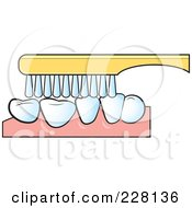 Royalty Free RF Clipart Illustration Of A Tooth Brush Brushing Teeth by Lal Perera