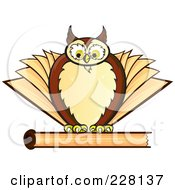 Royalty Free RF Clipart Illustration Of A Chubby Owl On Top Of A Closed Book by Paulo Resende