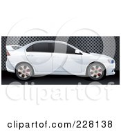Royalty Free RF Clipart Illustration Of A 3d White Rally Car Profile Over A Steel Grate With Holes by Paulo Resende