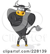 Royalty Free RF Clipart Illustration Of A Standing Black Bull With An Attitude And Crossed Arms