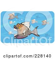 Royalty Free RF Clipart Illustration Of A Crowd Of Attacking Piranha Fish In Blue Water by Paulo Resende