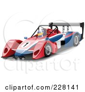 Royalty-Free (RF) Clipart Illustration of a 3d Race Car Driver In A Car by Paulo Resende
