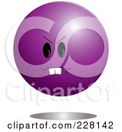 Mad Purple Ball Emoticon Character