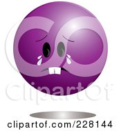 Crying Purple Ball Emoticon Character