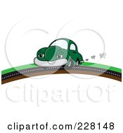 Royalty Free RF Clipart Illustration Of A Happy Green Car Putting On A Road Over A Hill by Pams Clipart