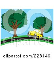 Royalty Free RF Clipart Illustration Of A Yellow Car Driving On A Country Road by Pams Clipart