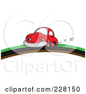 Royalty Free RF Clipart Illustration Of A Happy Red Car Putting On A Road Over A Hill by Pams Clipart