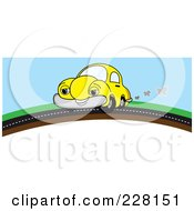 Royalty Free RF Clipart Illustration Of A Happy Yellow Car On A Road Over A Hill by Pams Clipart
