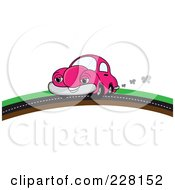 Royalty Free RF Clipart Illustration Of A Happy Pink Car Putting On A Road Over A Hill by Pams Clipart
