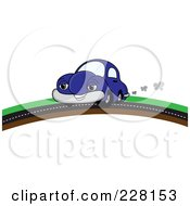 Royalty Free RF Clipart Illustration Of A Happy Blue Car Putting On A Road Over A Hill by Pams Clipart