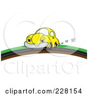 Happy Yellow Car Putting On A Road Over A Hill