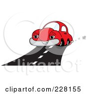 Happy Red Car Driving On A Road