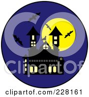 Royalty Free RF Clipart Illustration Of Bats Swarming Around A Haunted House And Full Moon On A Blue Circle by Pams Clipart