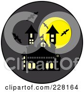 Royalty Free RF Clipart Illustration Of Bats Swarming Around A Haunted House And Full Moon On A Gray Circle by Pams Clipart