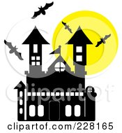 Royalty Free RF Clipart Illustration Of Bats Swarming Around A Large Haunted House And Full Moon
