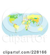 Royalty Free RF Clipart Illustration Of A Political World Map