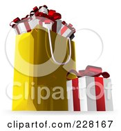Royalty Free RF Clipart Illustration Of A 3d Gift Box By A Golden Shopping Bag Full Of Presents by AtStockIllustration