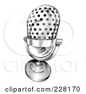 Royalty Free RF Clipart Illustration Of A Black And White Retro Microphone by AtStockIllustration
