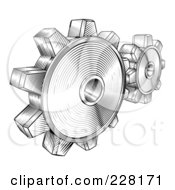 Royalty Free RF Clipart Illustration Of Black And White Retro Gear Cogs