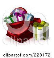 Royalty Free RF Clipart Illustration Of A Gift Box Beside A Red Santa Sack