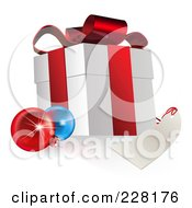Royalty Free RF Clipart Illustration Of A 3d Gift Box With Ornaments And A Blank Tag by AtStockIllustration