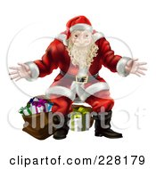 Royalty Free RF Clipart Illustration Of Santa Standing With Open Arms In Front Of Presents