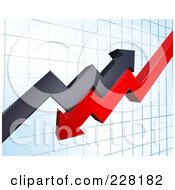 Royalty Free RF Clipart Illustration Of A Background Of Profit And Loss Arrows On A Blue Graph