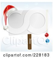 Royalty Free RF Clipart Illustration Of A Blank Christmas Sign With Ornaments And A Santa Hat