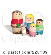 Royalty Free RF Clipart Illustration Of A Russian Doll Family by AtStockIllustration