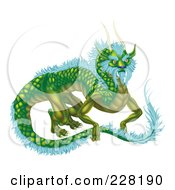 Royalty Free RF Clipart Illustration Of A Green Dragon With Icy Blue Feathers by AtStockIllustration