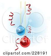 Royalty Free RF Clipart Illustration Of A Background Of Shiny Red Curly Ribbons And Suspended Christmas Ornaments
