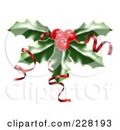 Royalty Free RF Clipart Illustration Of Shiny Red Ribbons On Christmas Holly And Berries