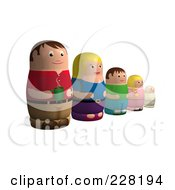 Royalty Free RF Clipart Illustration Of A Russian Doll Family In A Line by AtStockIllustration