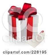 Royalty Free RF Clipart Illustration Of A 3d Gift Box With A Blank Tag by AtStockIllustration